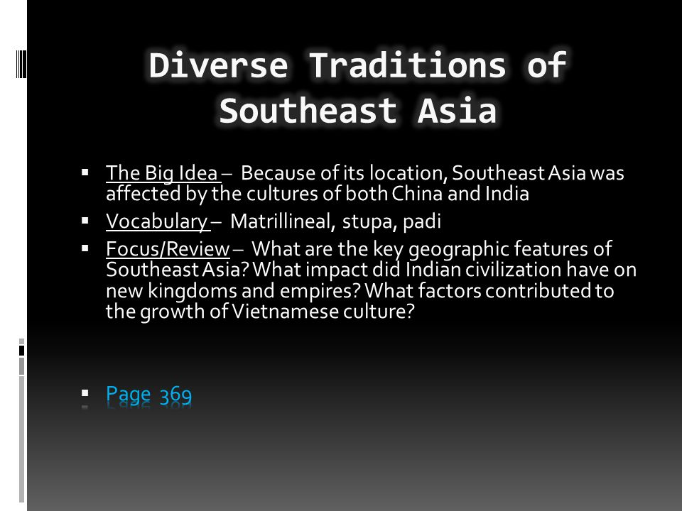 Diverse Traditions of Southeast Asia
