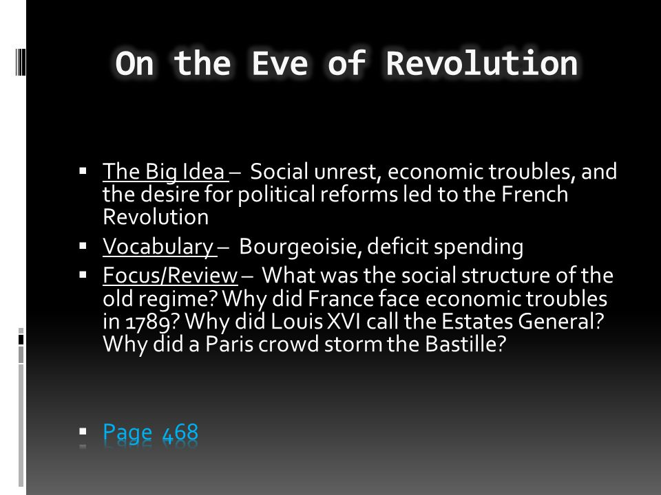 On the Eve of Revolution