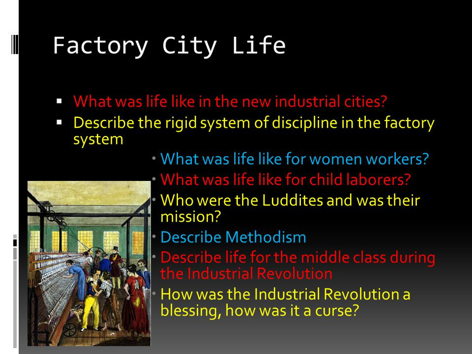Factory City Life What was life like in the new industrial cities