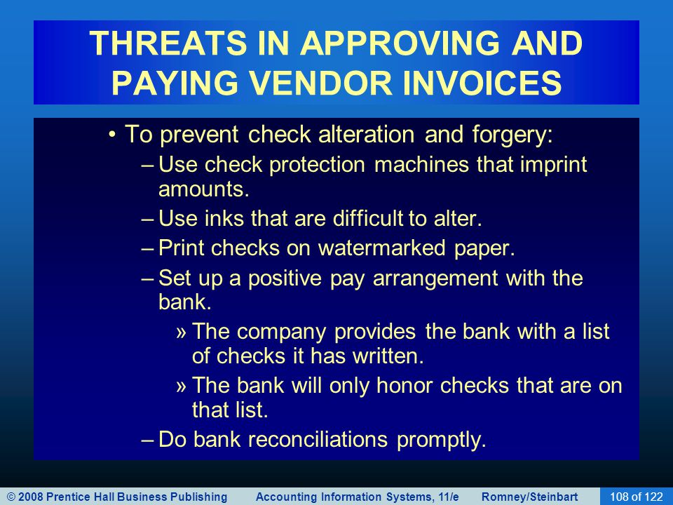 THREATS IN APPROVING AND PAYING VENDOR INVOICES