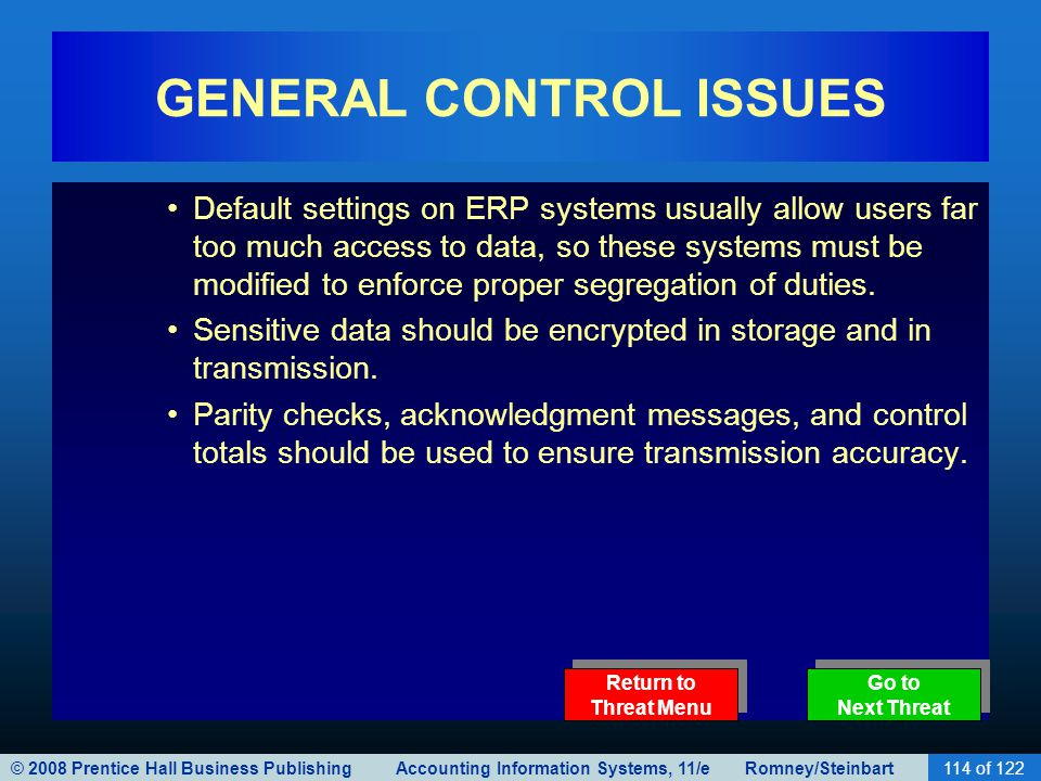 GENERAL CONTROL ISSUES