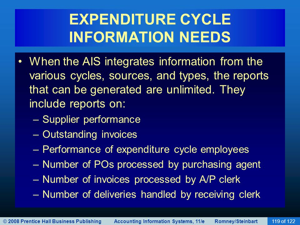 EXPENDITURE CYCLE INFORMATION NEEDS