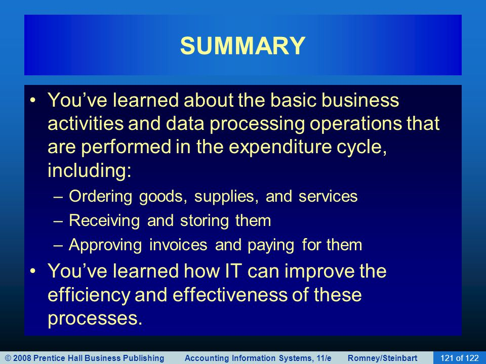 SUMMARY You've learned about the basic business activities and data processing operations that are performed in the expenditure cycle, including: