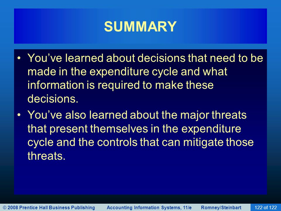 SUMMARY You've learned about decisions that need to be made in the expenditure cycle and what information is required to make these decisions.