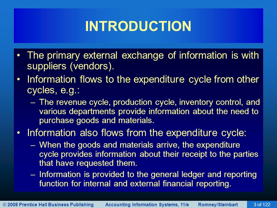 INTRODUCTION The primary external exchange of information is with suppliers (vendors).