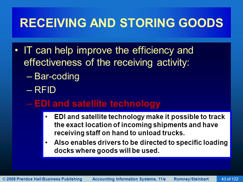 RECEIVING AND STORING GOODS