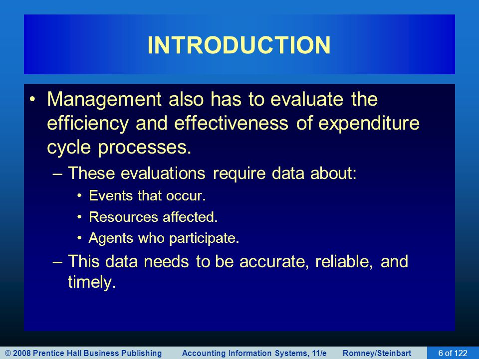 INTRODUCTION Management also has to evaluate the efficiency and effectiveness of expenditure cycle processes.