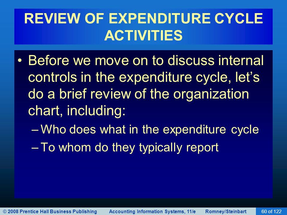 REVIEW OF EXPENDITURE CYCLE ACTIVITIES