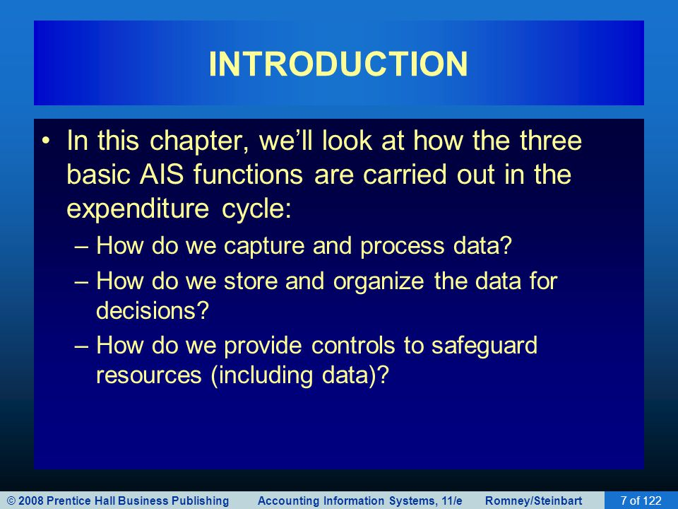 INTRODUCTION In this chapter, we'll look at how the three basic AIS functions are carried out in the expenditure cycle: