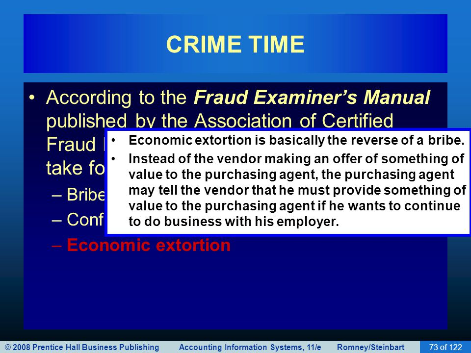 CRIME TIME According to the Fraud Examiner's Manual published by the Association of Certified Fraud Examiners, these schemes usually take four forms: