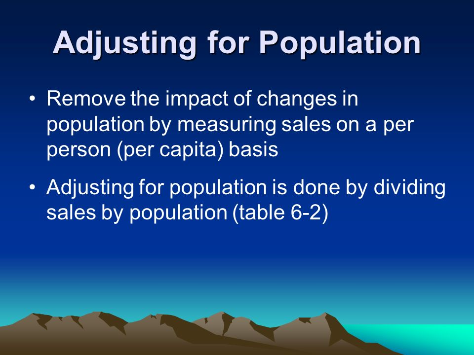 Adjusting for Population