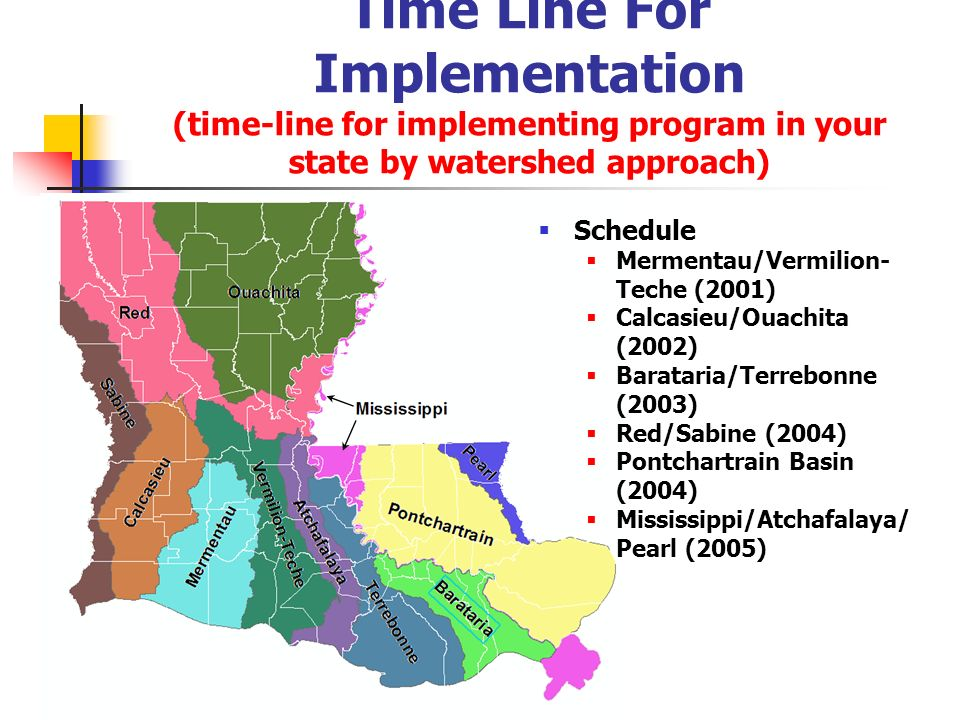 Time Line For Implementation (time-line for implementing program in your state by watershed approach)