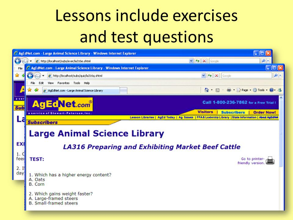 Lessons include exercises and test questions