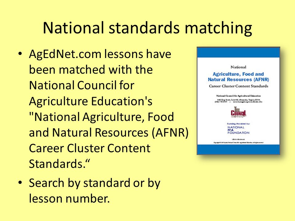 National standards matching