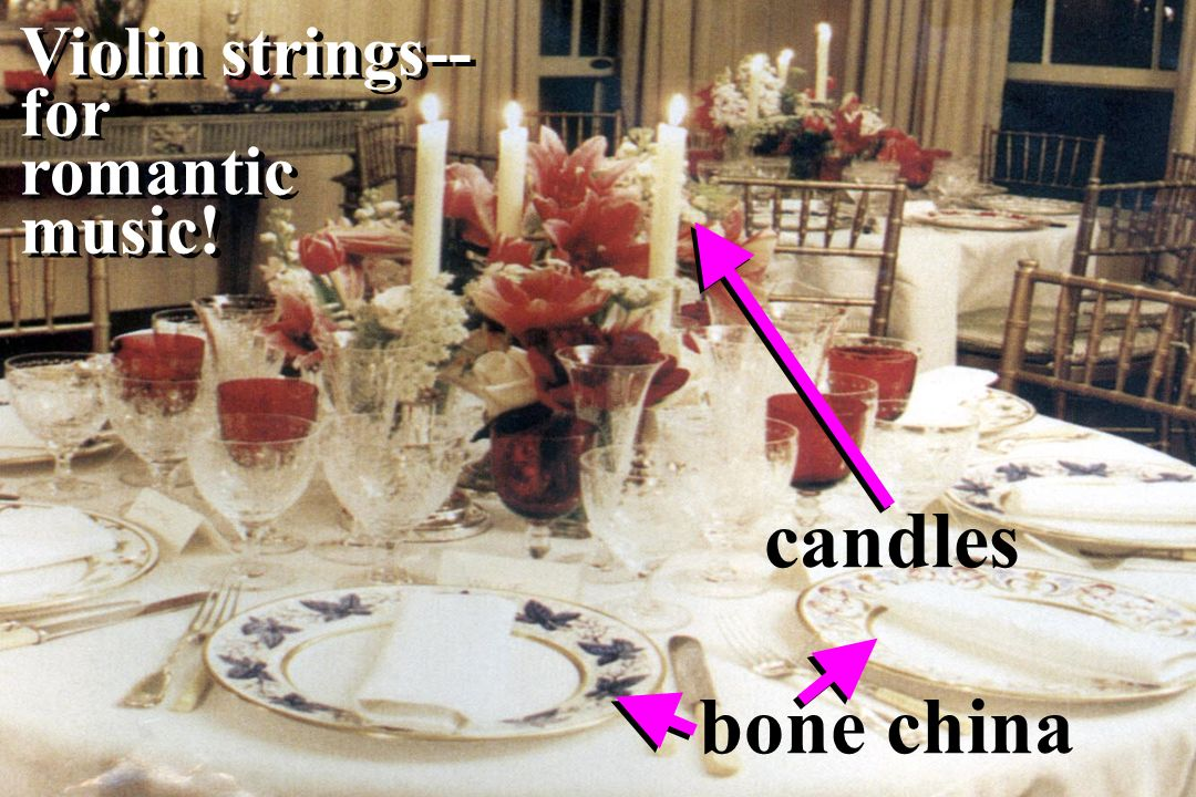 Violin strings-- for romantic music! candles bone china