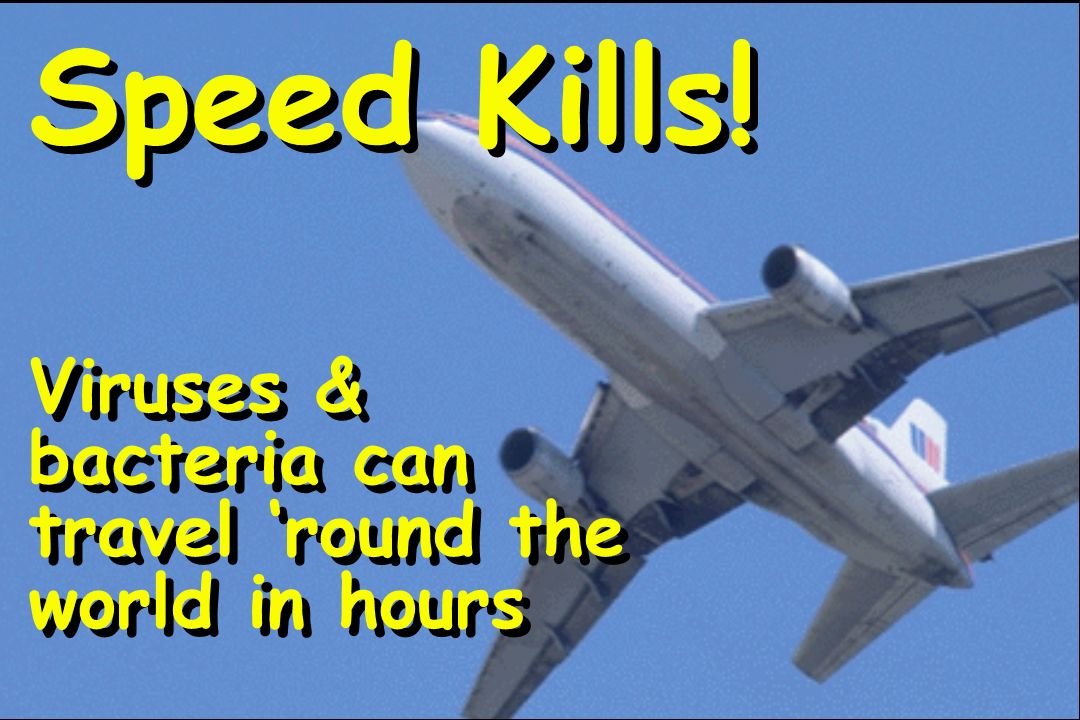Speed Kills! Viruses & bacteria can travel 'round the world in hours