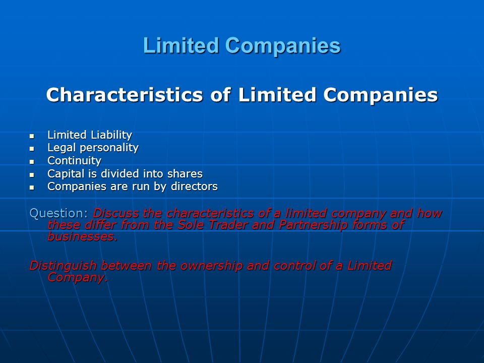 Characteristics of Limited Companies