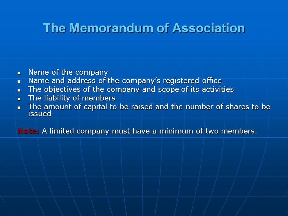 The Memorandum of Association