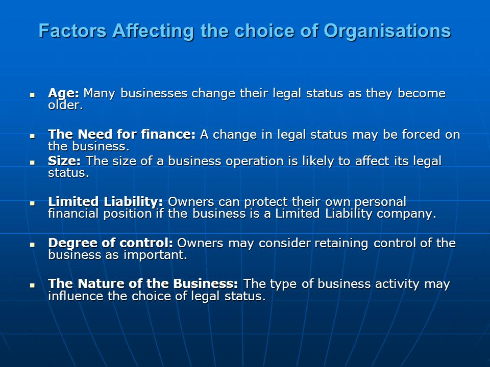 Factors Affecting the choice of Organisations