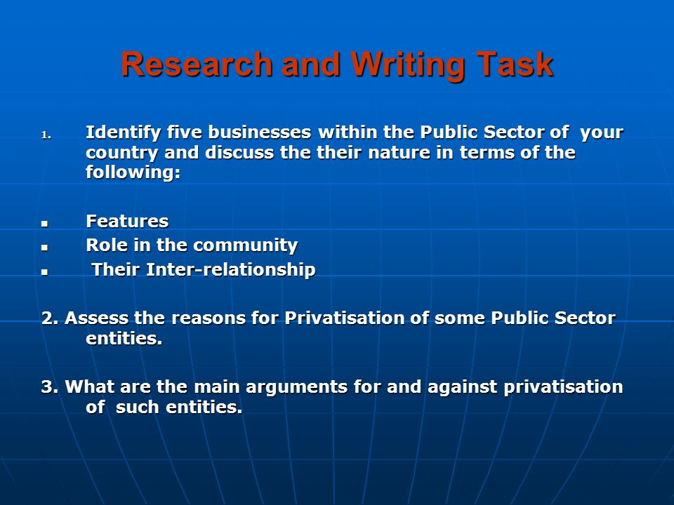Research and Writing Task