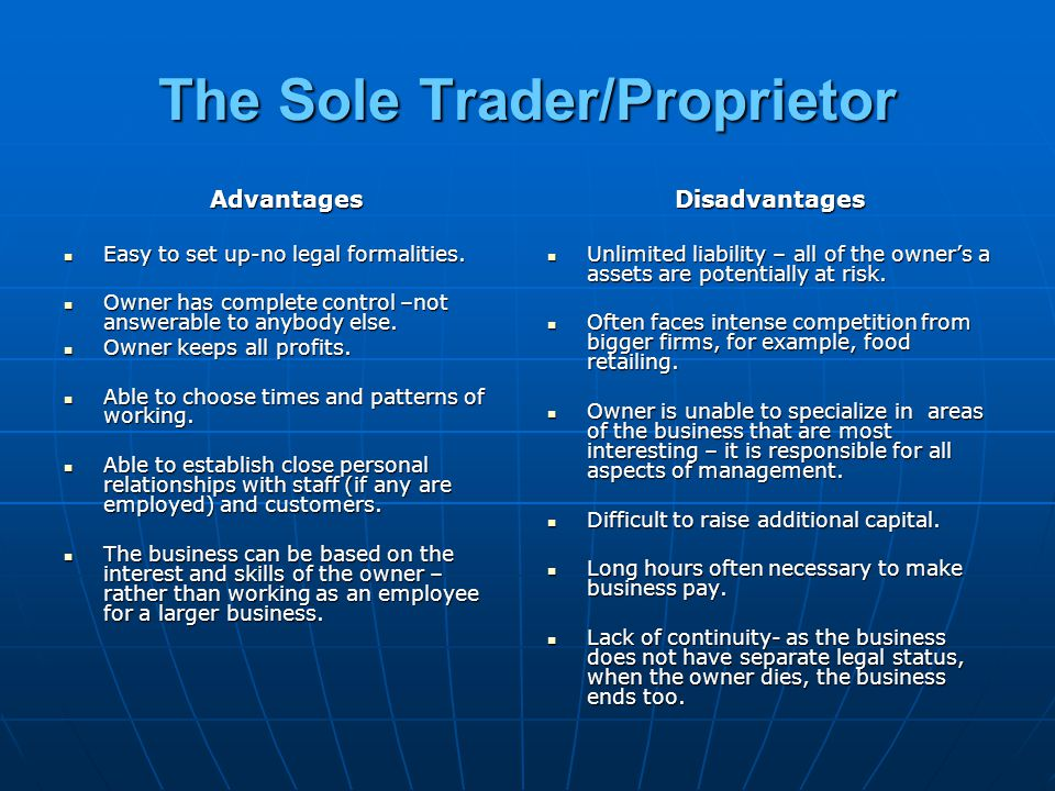 The Sole Trader/Proprietor