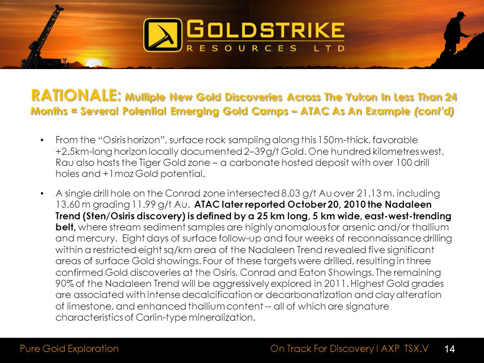 RATIONALE: Multiple New Gold Discoveries Across The Yukon In Less Than 24 Months = Several Potential Emerging Gold Camps – ATAC As An Example (cont'd)
