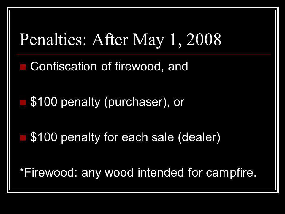Penalties: After May 1, 2008 Confiscation of firewood, and