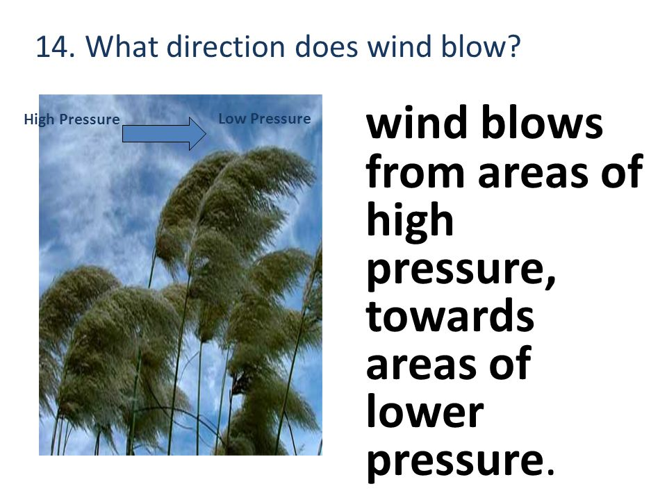 14. What direction does wind blow