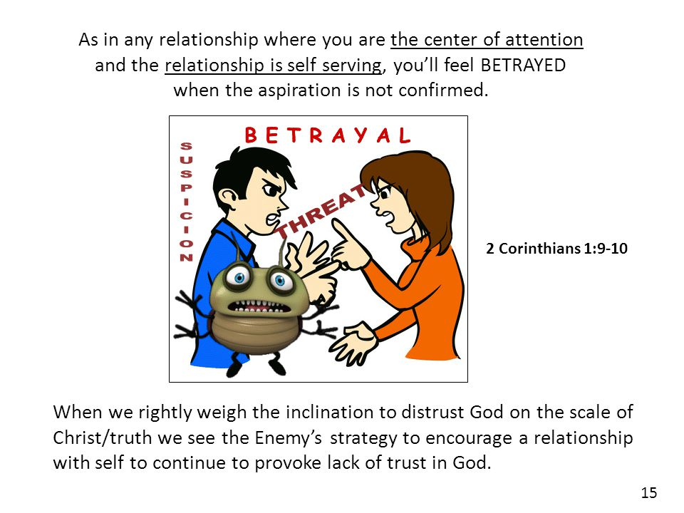 As in any relationship where you are the center of attention and the relationship is self serving, you'll feel BETRAYED when the aspiration is not confirmed.