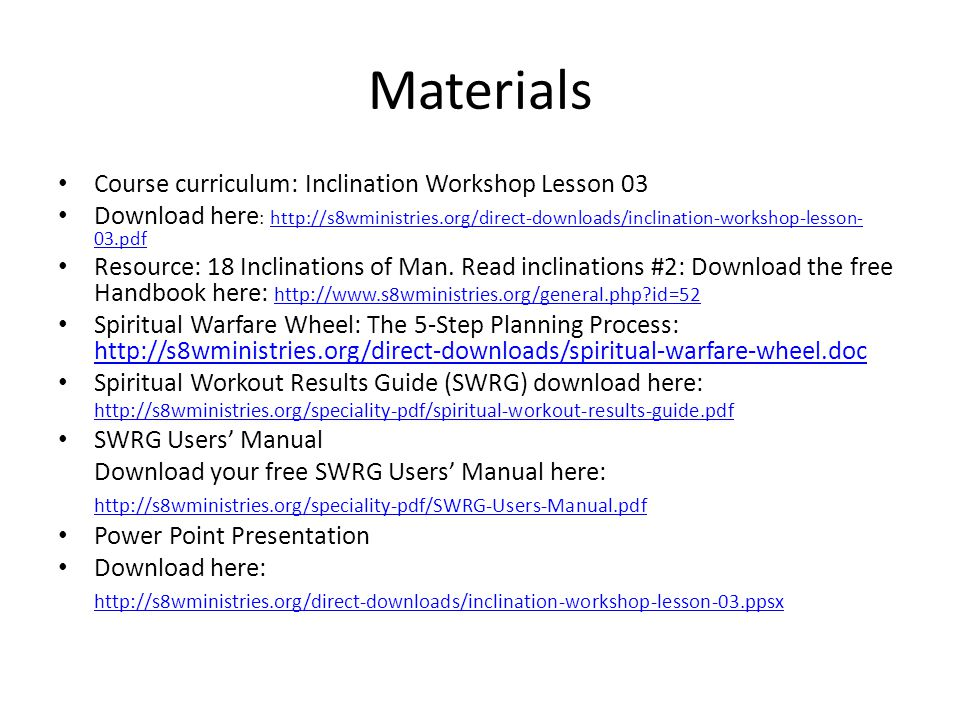 Materials Course curriculum: Inclination Workshop Lesson 03