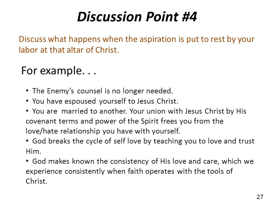 Discussion Point #4 For example. . .