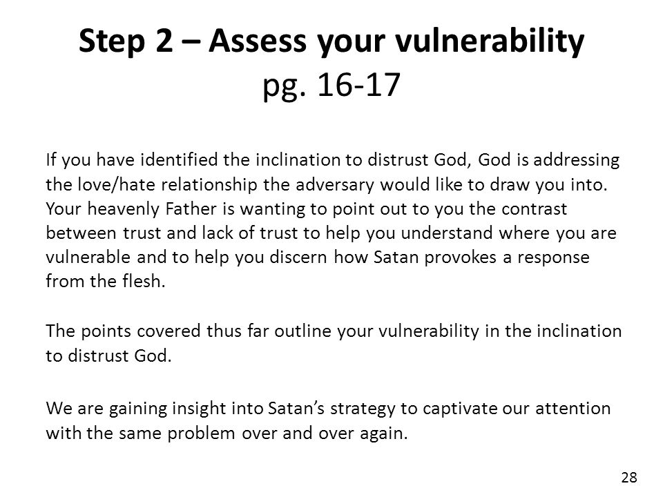 Step 2 – Assess your vulnerability pg. 16-17