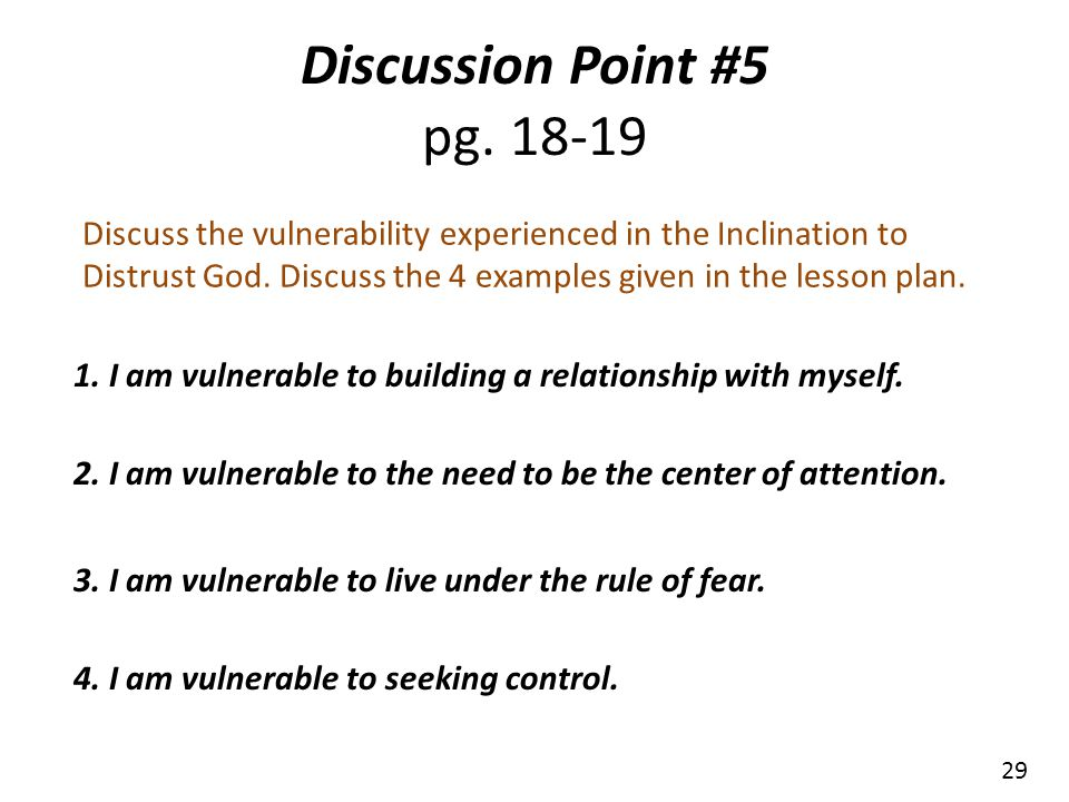 Discussion Point #5 pg. 18-19