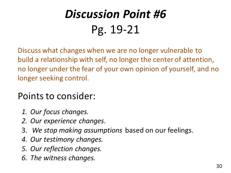 Discussion Point #6 Pg. 19-21 Points to consider: