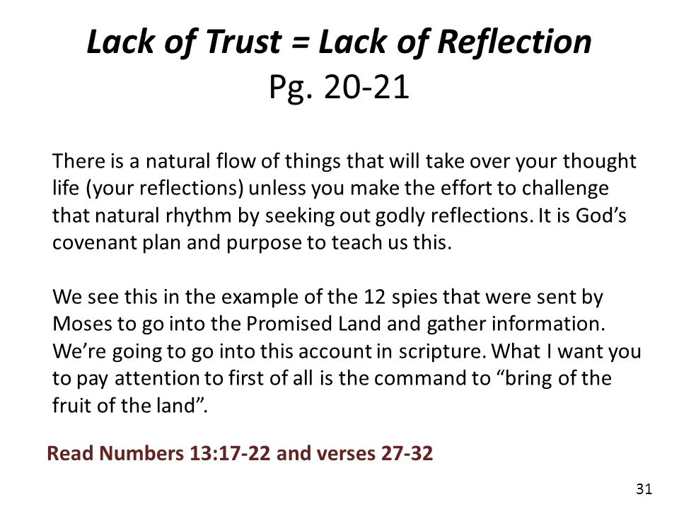 Lack of Trust = Lack of Reflection Pg. 20-21