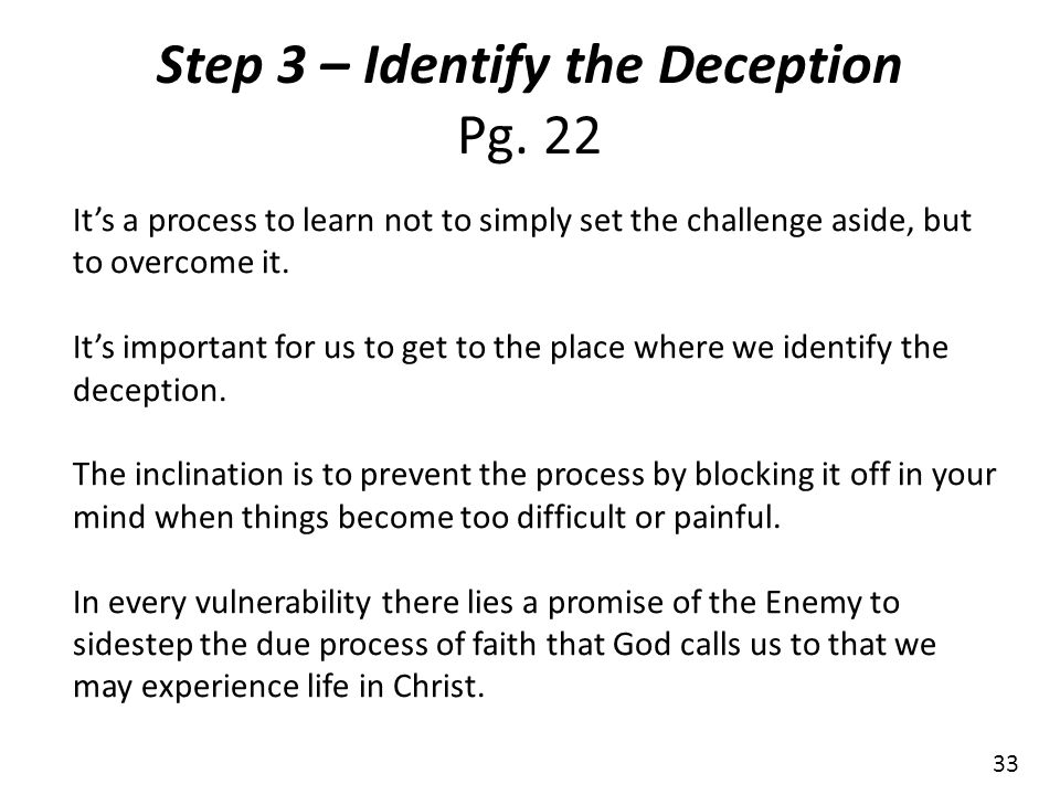 Step 3 – Identify the Deception Pg. 22