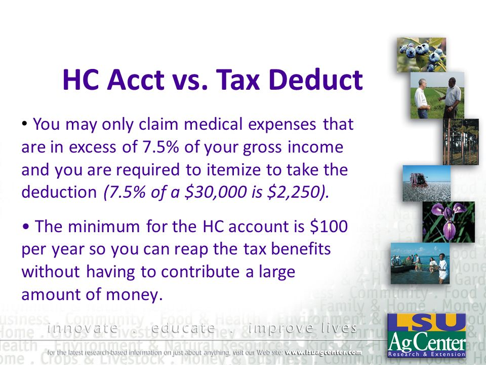 HC Acct vs. Tax Deduct