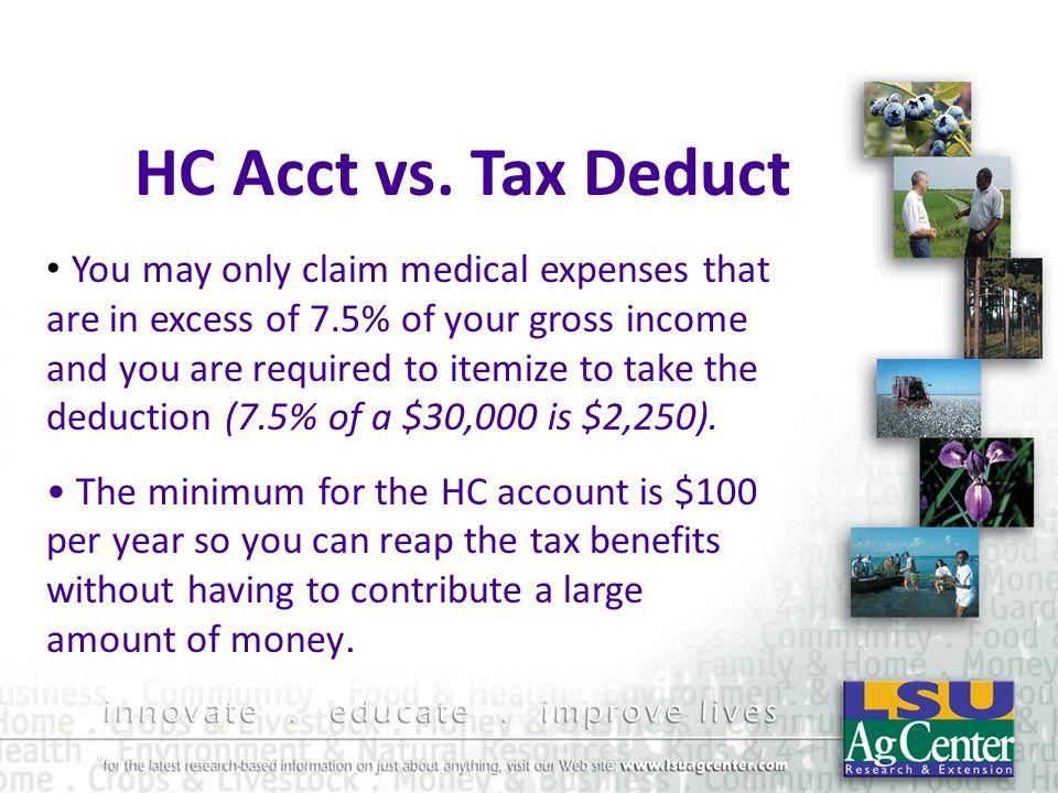 HC Acct vs. Tax Deduct