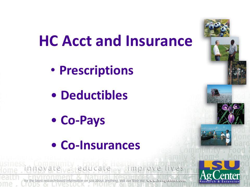HC Acct and Insurance Prescriptions Deductibles Co-Pays Co-Insurances