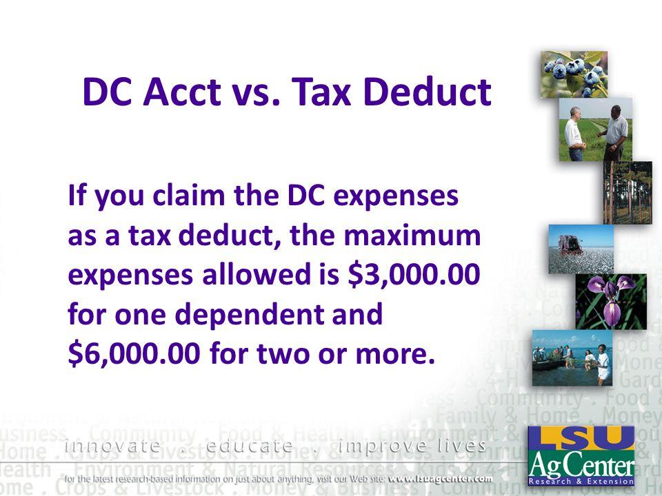 DC Acct vs. Tax Deduct