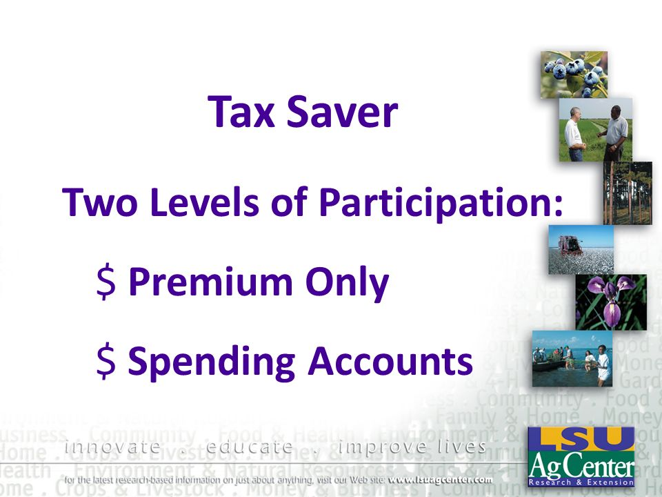 Tax Saver Two Levels of Participation: Premium Only Spending Accounts