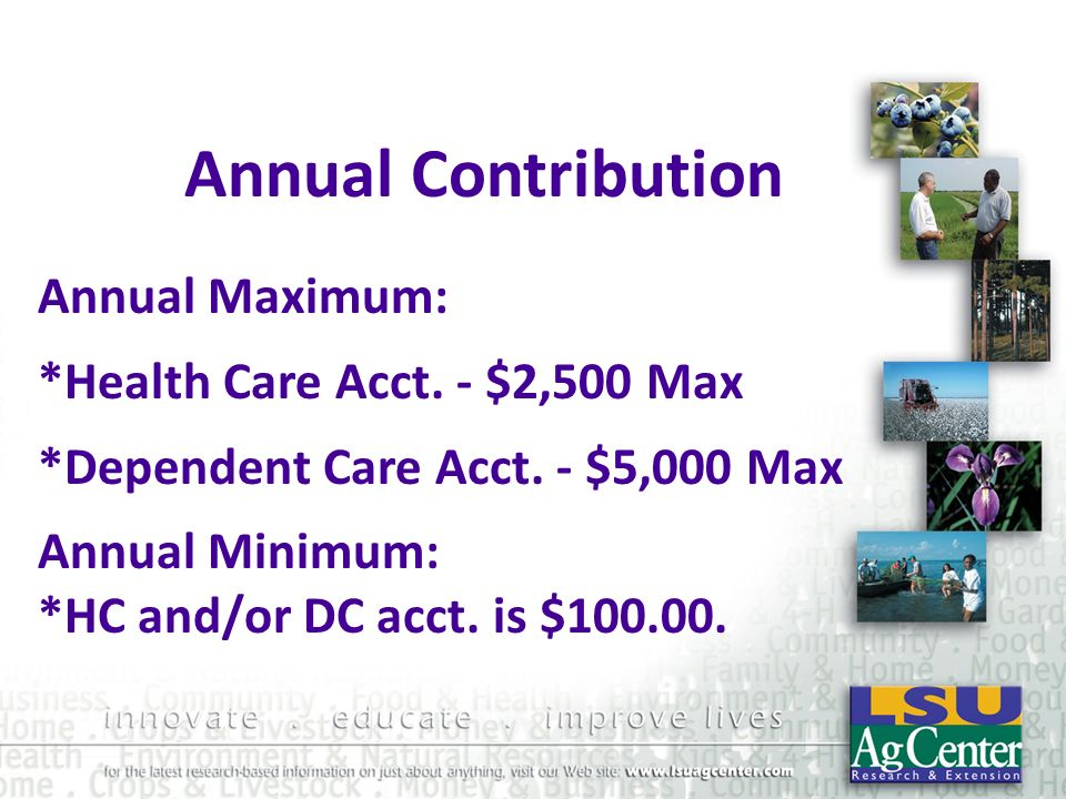 Annual Contribution Annual Maximum: *Health Care Acct. - $2,500 Max