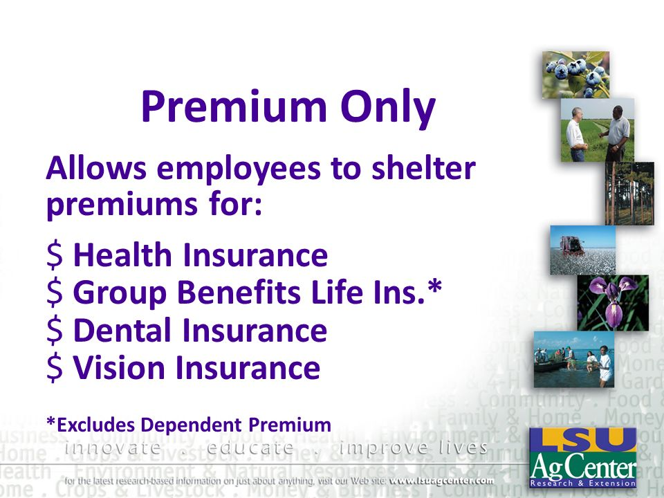 Premium Only Allows employees to shelter premiums for:
