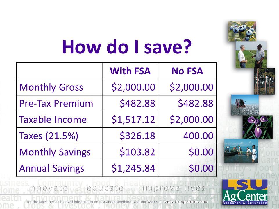 How do I save With FSA No FSA Monthly Gross $2,000.00 Pre-Tax Premium