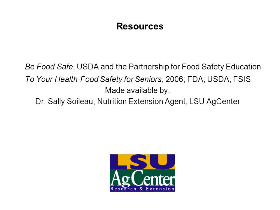 Be Food Safe, USDA and the Partnership for Food Safety Education