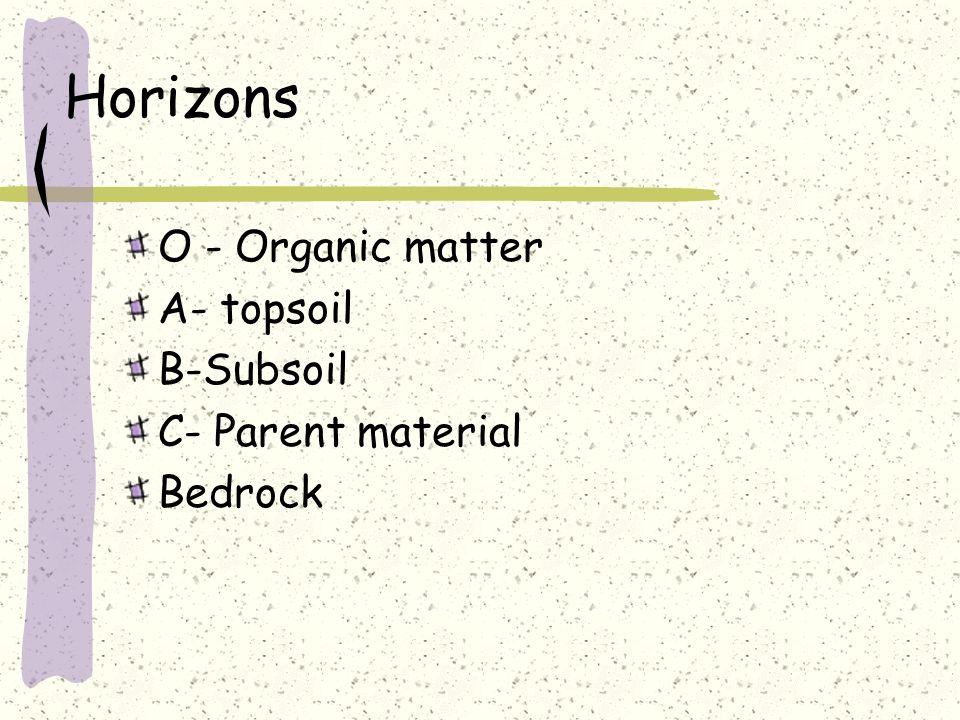 Horizons O - Organic matter A- topsoil B-Subsoil C- Parent material
