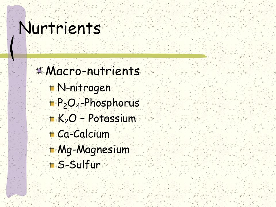 Nurtrients Macro-nutrients N-nitrogen P2O4-Phosphorus K2O – Potassium