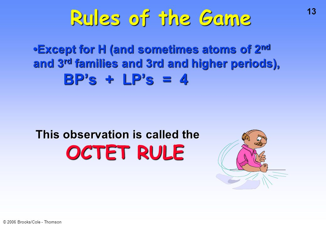 Rules of the Game •Except for H (and sometimes atoms of 2nd and 3rd families and 3rd and higher periods),