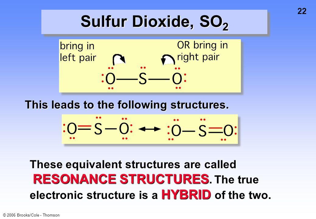 Sulfur Dioxide, SO2 This leads to the following structures.