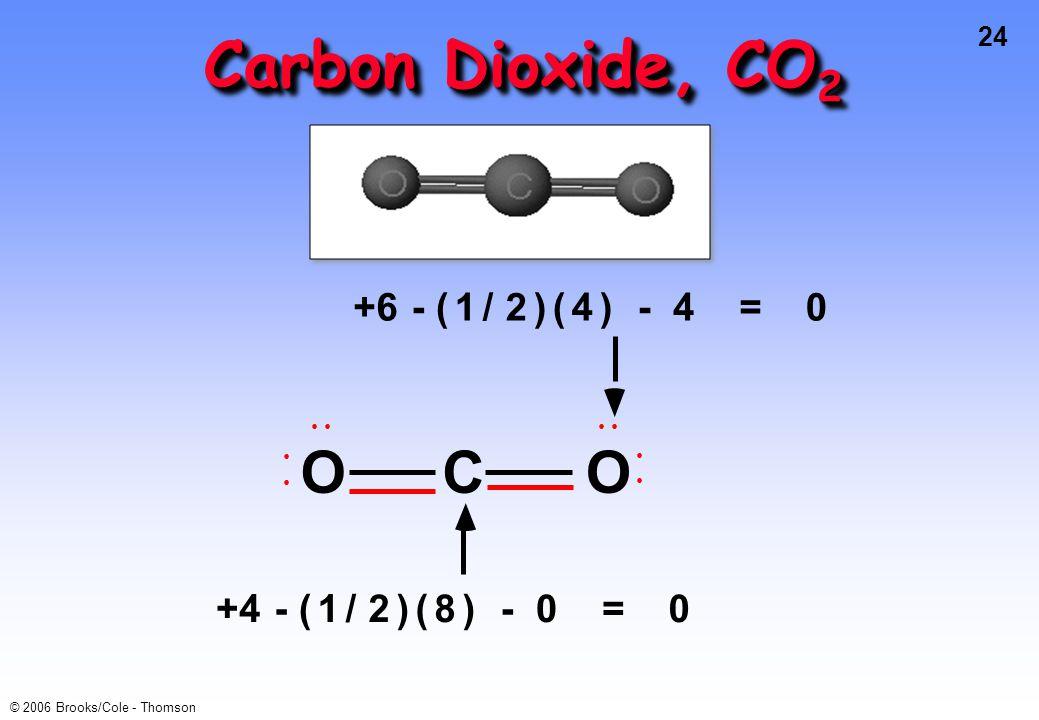 Carbon Dioxide, CO2 +6 - ( 1 / 2 ) 4 = • O C +4 - ( 1 / 2 ) 8 =